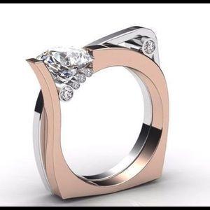 Ladies Designer 14 tricolor diamond ring 1-5ctw